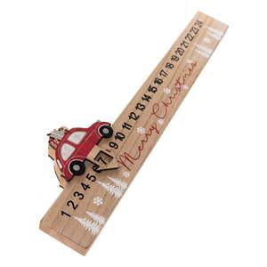 Drewniany podłużny kalendarz adwentowy Auto Dakls, dł. 40 cm obraz