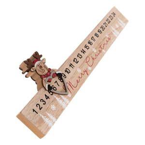 Drewniany podłużny kalendarz adwentowy Renifer Dakls, dł. 40 cm obraz