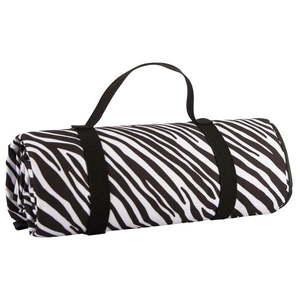 Czarno-biały koc piknikowy Navigate Zebra Stripes, 150x140 cm obraz