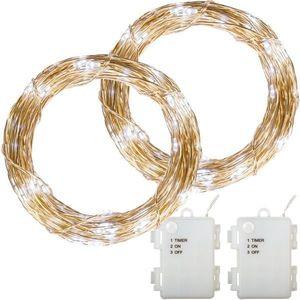 Zestaw 2 sztuk drutów świetlnych - 200 diod LED, zimny biały obraz