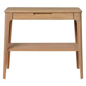 Konsola z drewna białego dębu Unique Furniture Amalfi, 90x37 cm obraz