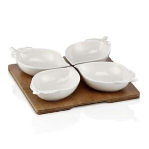 Zestaw 4 misek porcelanowych z tacką Elegance obraz