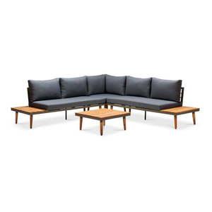 Szara sofa ogrodowa z konstrukcją z drewna akacji Le Bonom Lustio obraz