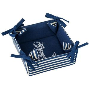 Koszyk na pieczywo NAVY - biało-niebieski - Rozmiar 18x18x8cm obraz