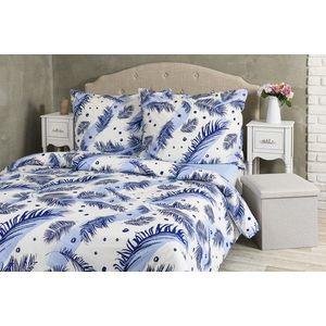 Pościel Soft Feathers - biały z niebieskimi piórkami - Rozmiar 140x200cm + 70x90cm obraz