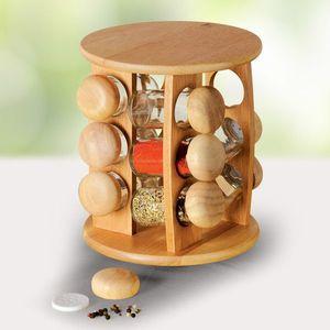 Pojemniki na przyprawy szkło/drewno 12 szt. + stojak z drewna - Rozmiar średnica 20 cm, wysokość 24 cm obraz