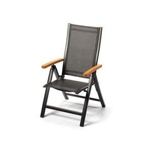 Aluminiowe rozkładane krzesło z podłokietnikami w dekorze drewna Le Bonom Comfort obraz