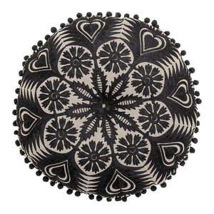 Czarno-beżowa poduszka dekoracyjna Bloomingville Mandala, ø 36 cm obraz