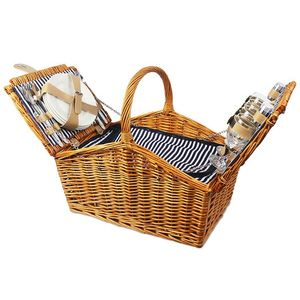 Kosz piknikowy lawendowe wzgórza, granatowo-biały KLW obraz