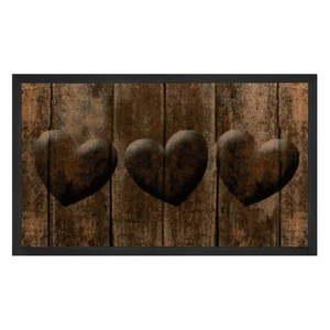 Brązowa wycieraczka Bougari Hearts, 45x75 cm obraz