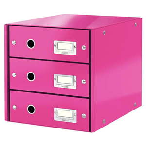 Różowy pojemnik z 3 szufladami Leitz Office, 36x29x28 cm obraz
