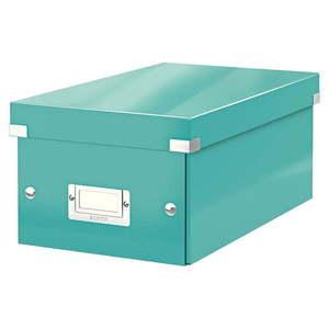 Turkusowe pudełko do przechowywania z pokrywką Leitz DVD Disc, dł. 35 cm obraz
