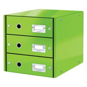 Zielony pojemnik z 3 szufladami Leitz Office, 36x29x28 cm obraz