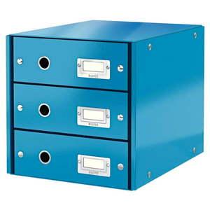 Niebieski pojemnik z 3 szufladami Leitz Office, 36x29x28 cm obraz