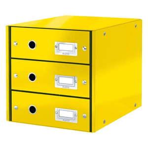 Żółty pojemnik z 3 szufladami Leitz Office, 36x29x28 cm obraz