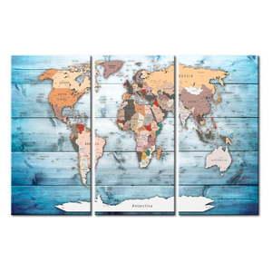 Tablica z mapą świata Bimago Sapphire Travels 120x80 cm obraz
