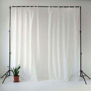 Biała lekka lniana zasłona na troczki Linen Tales Daytime, 275x140 cm obraz