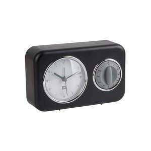 Czarny zegar z minutnikiem PT LIVING Nostalgia obraz