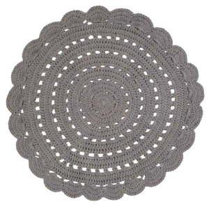 Szary ręcznie haftowany dywanik bawełniany Nattiot Alma, ⌀ 120 cm obraz