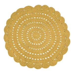 Żółty ręcznie haftowany dywanik bawełniany Nattiot Alma, ⌀ 120 cm obraz
