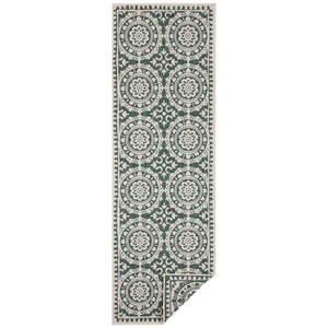 Zielono-kremowy dywan odpowiedni na zewnątrz Bougari Jardin, 80x350 cm obraz