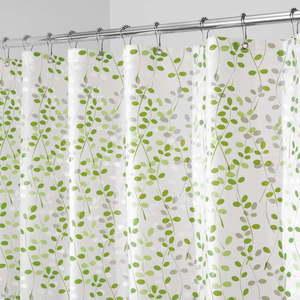 Biało-zielona zasłona prysznicowa iDesign Vine, 183x183 cm obraz