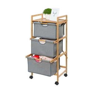 Szafka na kółkach z 3 koszykami do przechowywania Wenko Bamboo obraz
