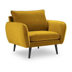 Żółty aksamitny fotel z czarnymi nogami Kooko Home Lento obraz