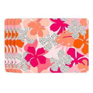 Różowo-pomarańczowa mata stołowa Navigate Floral obraz