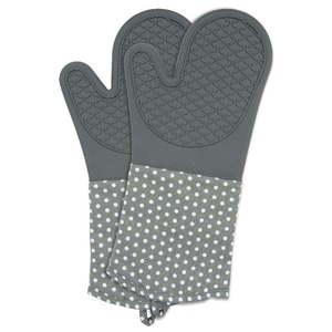 Zestaw 2 szarych rękawic kuchennych z silikonu Wenko Oven obraz