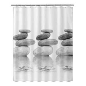 Beżowa zasłona prysznicowa Unimasa Stones, 180x200 cm obraz
