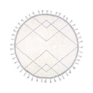 Biało-szary dywan dziecięcy z bawełny wykonany ręcznie Nattiot, ø 120 cm obraz