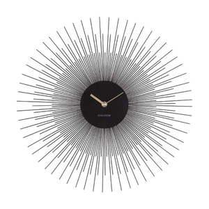 Czarny zegar ścienny Karlsson Peony, ø 45 cm obraz