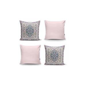 Zestaw 4 dekoracyjnych poszewek na poduszki Minimalist Cushion Covers Pink Ethnic, 45x45 cm obraz