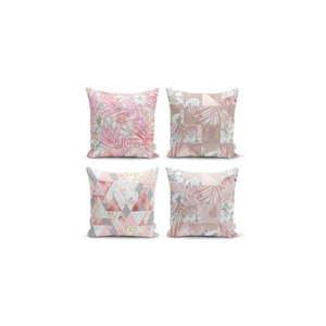 Zestaw 4 dekoracyjnych poszewek na poduszki Minimalist Cushion Covers Pink Leaves I, 45x45 cm obraz