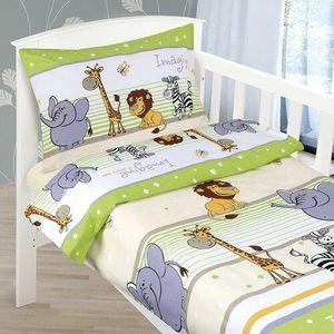 Dziecięca pościel bawełniana do łóżeczka Agáta Safari zielony, 90 x 135 cm, 45 x 60 cm obraz
