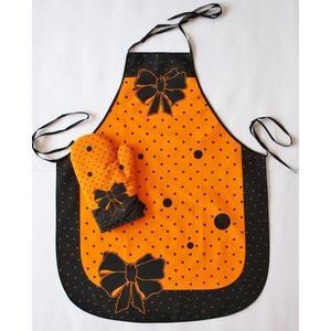 Fartuch i rękawice - Madam -komplet - Pomarańczowy obraz