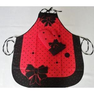 Fartuch i rękawice - Madam - komplet - Czerwony obraz