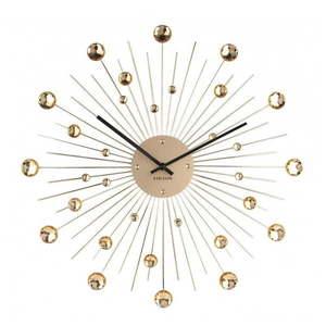 Zegar ścienny z kryształków w kolorze złota Karlsson Sunburst obraz