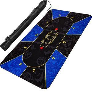 Składana mata do pokera, niebiesko-czarna, 200 x 90 cm obraz