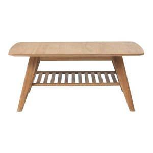Stolik z półką z litego drewna dębowego Unique Furniture Rho, 110x70 cm obraz