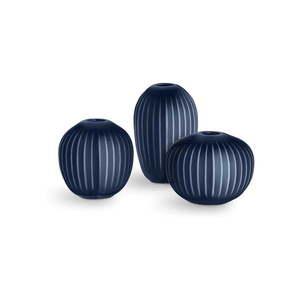 Zestaw 3 kamionkowych ciemnoniebieskich wazonów Kähler Design Hammershoi Miniature obraz