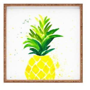 Drewniana taca dekoracyjna Ananas, 40x40 cm obraz