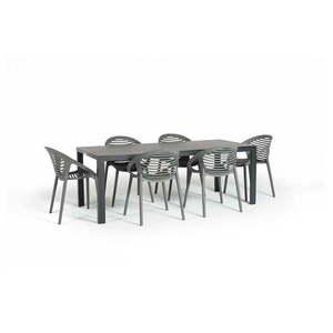 Szary zestaw mebli ogrodowych z 6 krzesłami Le Bonom Joanna Thor obraz