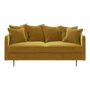 Miodowożółta aksamitna sofa Ghado Esme, 176 cm obraz