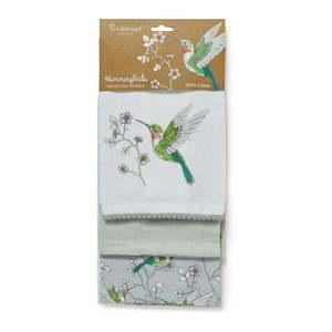 Zestaw 3 szarych bawełnianych ścierek Cooksmart ® Hummingbirds obraz