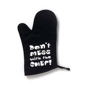 Czarna bawełniana rękawica kuchenna Cooksmart ® Don't Mess With The Chef obraz