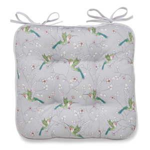 Szara bawełniana poduszka na krzesło Cooksmart ® Hummingbirds obraz