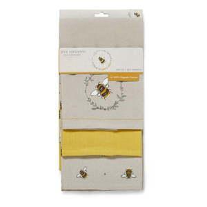 Zestaw 3 beżowo-żółtych bawełnianych ścierek kuchennych Cooksmart ® Bumble Bees obraz