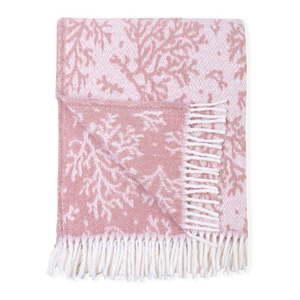 Różowy pled z domieszką bawełny Euromant Coral, 140x180 cm obraz